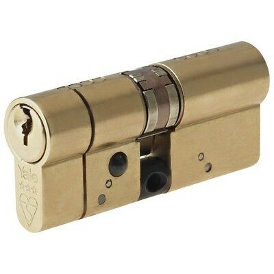 Yale Locks P-ASP4040PB Anti-Snap Platinum Euro Cylinder 40/40 Polished Brass