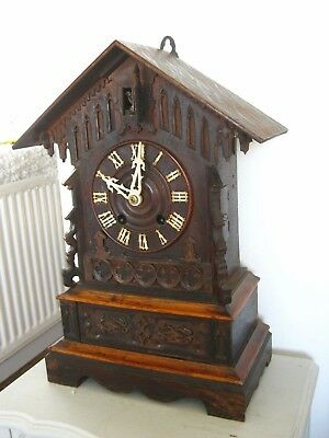 Large Antique Black  Forest Mantle Cuckoo Clock