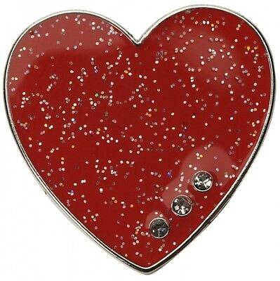 Glitzy Red Heart with Three Genuine. Crystals Ball Marker. Navika. Brand New