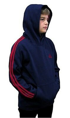 (Youth Medium 10/12, Fleece Pullover Hoodie, Navy/Red) - adidas Youth Fleece