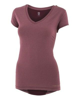 (X-Small, Wine Heather) - Noble Karleigh Short Sleeve V-Neck Vivacious Heather