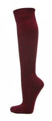 (Large, Maroon) - Knee High Sports Athletic Baseball Softball Socks. COUVER