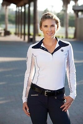 (X-Small, Navy) - Romfh Ladies Competitor LS Show Shirt. Delivery is Free