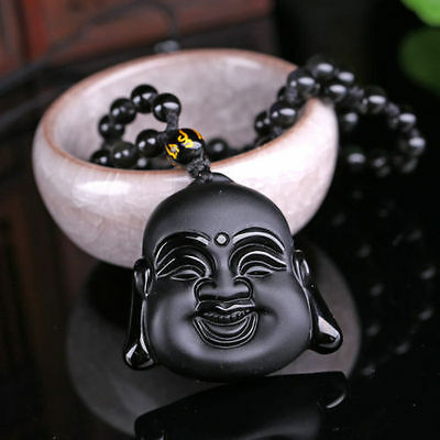 Black Natural A obsidian hand-carved good luck Buddha jade pendant