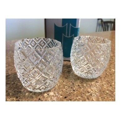 Partylite 1 P0312 Patchwork Pair Votive CANDLE Holders 2 piece Set NEW in BOX