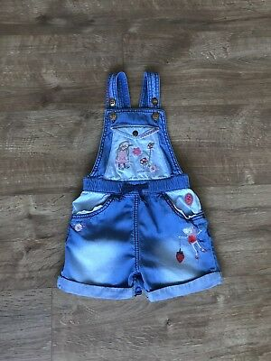 Next Girls Strawberry Bunny Short Dungarees 18-24 Months