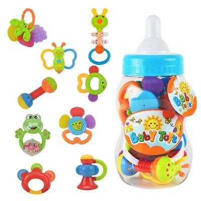 Rattle Teether Set Baby Toy - Wishtime 9pcs Shake and Grap Rattle Toy for New...