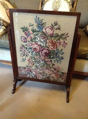 Vintage Tapestry Fire Screen Table