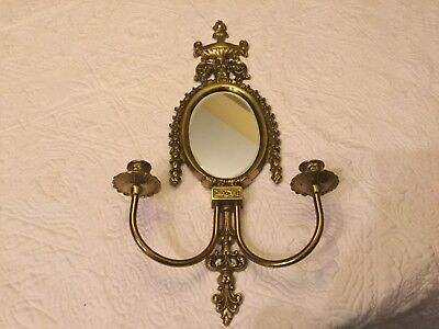 Antique/Vintage Brass Wall Sconce With Oval Beveled Mirror-Dual Candle Holders