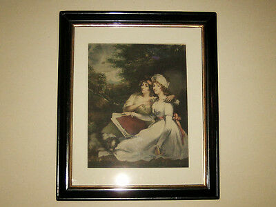 DAUGHTERS of SIR THOMAS FRANKLAND BART- GRAVURE aus 1797 im ANTIKEN RAHMEN 29x24