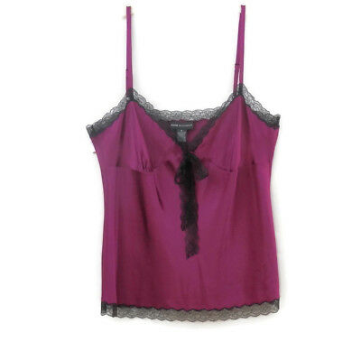 Dana Buchman Purple Silk and Black Lace Camisole sz 16 New w/Tags