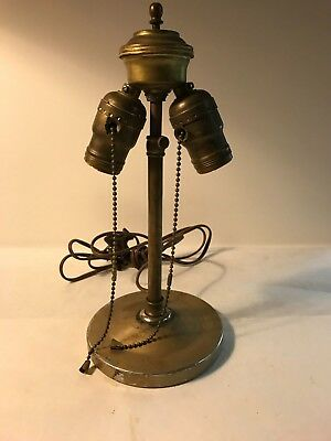Antique brass double pull chain sockets table leaded stained glass lamp