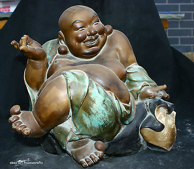 Chinese Private Famille Rose porcelain Pottery Statue Maitreya Buddha