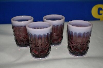 Mosser Glass Eyewinker Plum Opalescent Tumblers Set of Four