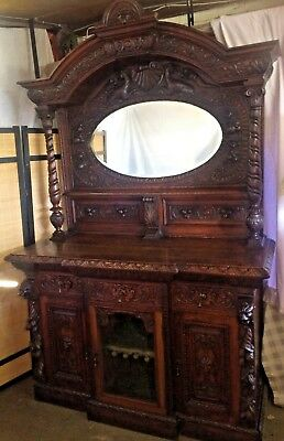 Victorian Gothic Antique Carved Oak Mirrored Sideboard. Dresser Buffet .home Bar