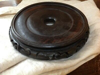 Antique Chinese Hard Wood Hardwood Carved Oval Vase Stand  7 1/2 in top diameter