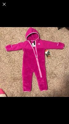 NORTH FACE INFANT CHIMBA ONE PIECE SNOW FLEECE SUIT, Liminous Pink 12-18 MO. NWT