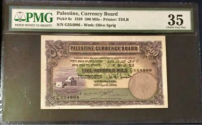 Palestine Currency Board, 500 Mils, 1939, Pmg 35 .beautiful Banknote