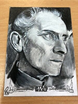 2018 Star Wars A New Hope Black & White Sketch Card Phil Hassewer -Peter Cushing