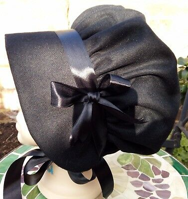 Girls BLACK Wool BONNET VICTORIAN School Costume Edwardian Oliver Country Poor