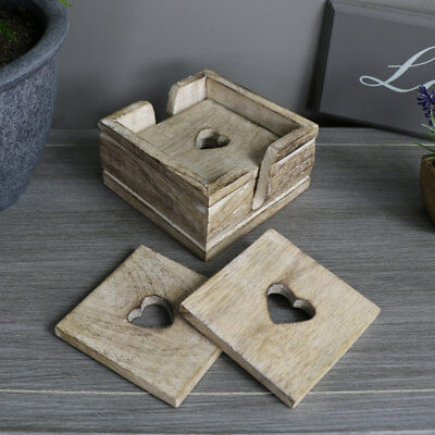 Natural wooden set 6 coasters placemat in holder shabby vintage chic home gift