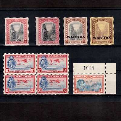 BAHAMAS 1910s - 1942 SELECTED MINT STAMPS INCLUDING WAR TAX & GEORGE V 8d BLOCK
