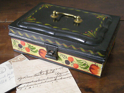 Brightly Painted Antique Polychrome Toleware Document Box, AAFA Late 19th c., NR