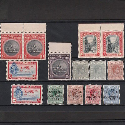 BAHAMAS 1910s - 1942 SELECTED MINT STAMPS INCLUDING COLUMBUS OVERPRINTS