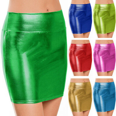 Damen Rock Metallic Glanz Wetlook Minirock Party Röcke Sexy Clubwear Strenchrock