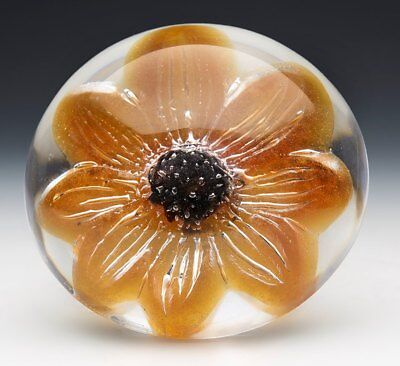 Vintage Stylish French Daum Floral Glass Paperweight 20Th C.