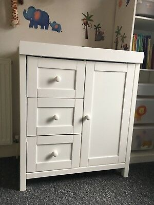 Baby Changing Unit - wood in white