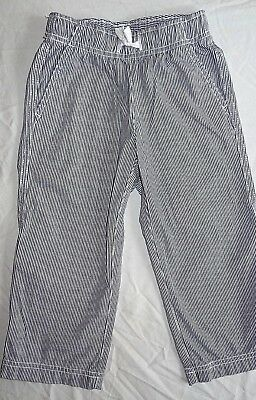 EEUC 100 4 4T HANNA ANDERSSON Striped Pull-on Roll up Pants trouser Navy white