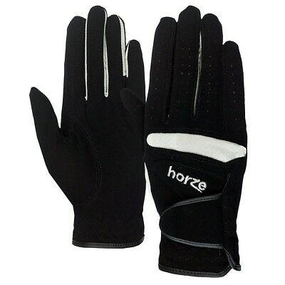 Small Horze Lyon Stretch Synthetic Leather Horse Riding Gloves Pair Black