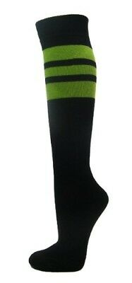 (Medium, Lime Green) - Couver Stripes on Black Knee High Sports/Softball Socks