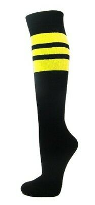(Large, Bright Yellow) - Couver Stripes on Black Knee High Sports/Softball Socks