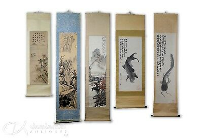 Large Collection Of Chinese Scroll Paintings Of Various Design