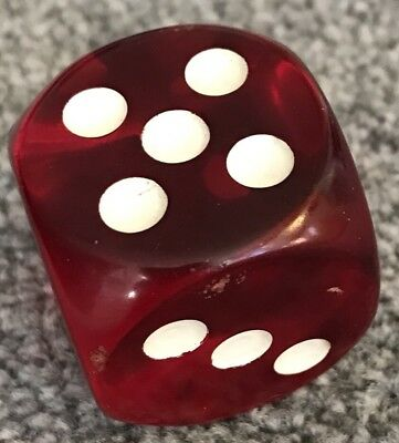 Large Red Art Deco Catalin Bakelite Dice.
