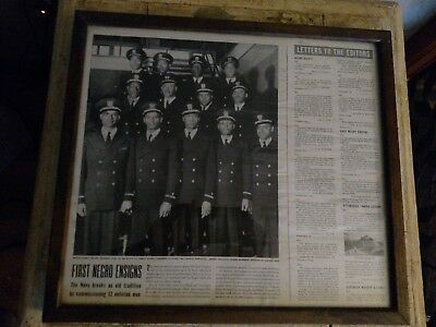 WWll Framed Life Magazine Article May 15, 1944 First Negro Ensigns, US Navy