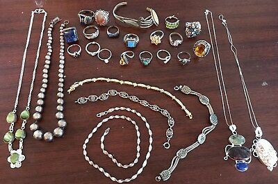 Large Sterling Silver Jewelry 27 Piece Lot NOT SCRAP! Rings, Necklaces, Braclets