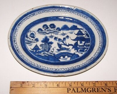 """Antique Qing Chinese Export Canton Blue 8"""" Oval  Underplate Dish Plate"""
