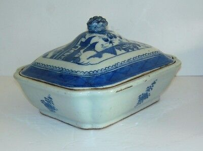 """Antique Qing Chinese Export Canton Blue White  Vegetabale  Dish Porcelain 9"""""""