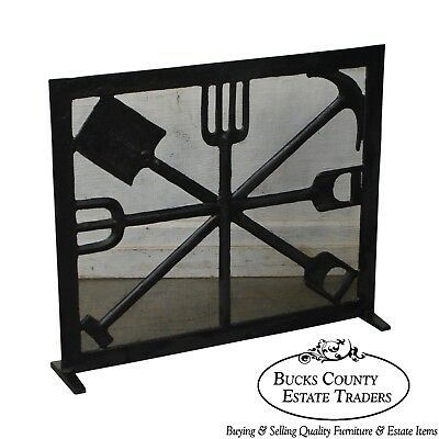Custom Hand Wrought Iron Fire Screen