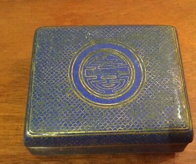 Vintage Enamelled Brass Box Blue & Gold Chinese