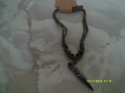 MENS SURF JEWELLERY NECKLACE  ADJ cord COL brown & green