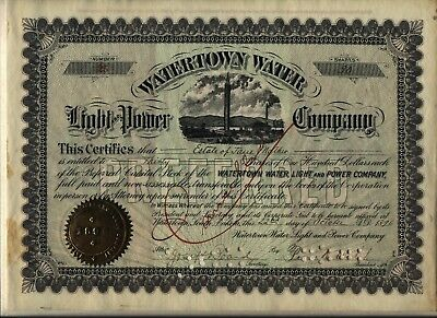 Watertown Water Light & Power Company Stock Certificate South Dakota Preferred