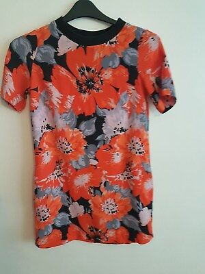 Ref 73 -NEXT - Ladies Womens Girls Orange & Black Floral LongTop Or Dress Size 8
