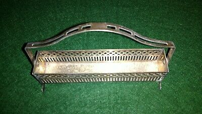 "Apollo Sheffield BRS Nickle Silver Oblong Basket Tray with Handle 5 1/2"" vintage"