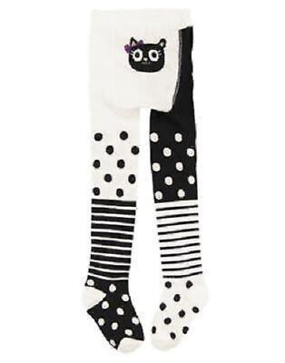 Gymboree Purrfectly Fabulous Black/ White Dots Cat Tights Size 0-6 Mos & UP NEW