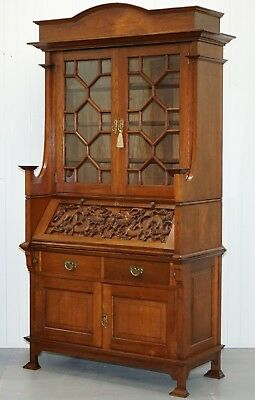 Rare Chinese Export Hand Carved Dragon Bureau Bookcase Cabinet Solid Oak
