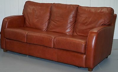 Lovely Aged Chestnut Brown Leather Three Seater Sofa Great Colour & Comfortable